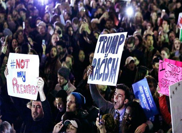 ВНью-Йорке начались протесты против победы Трампа навыборах