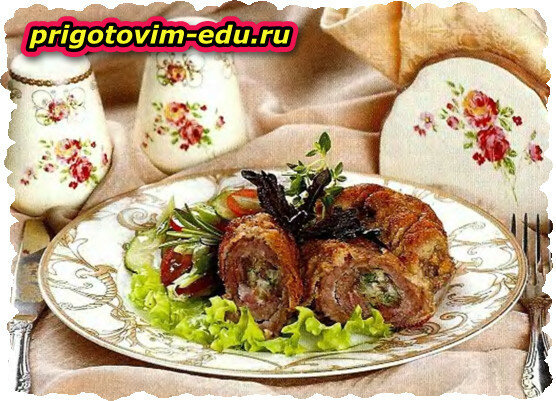 Зразы из свинины с грибами