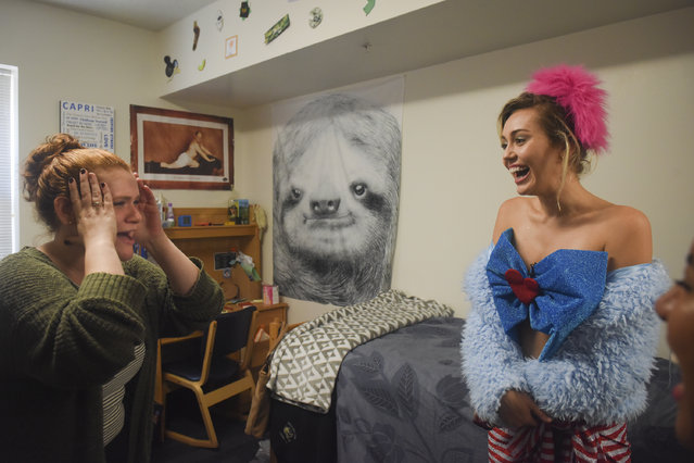 GMU student Katherine Quigley gets a visit from singer, songwriter, actress and philanthropist Miley