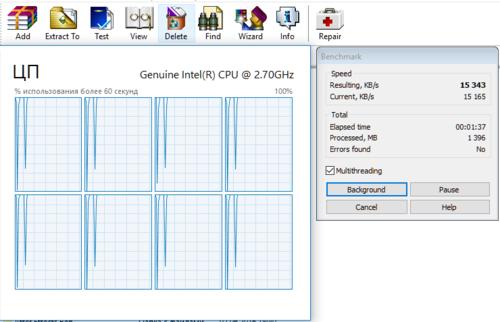 Результаты встроенного бенмарка в WinRAR - Версия для печати