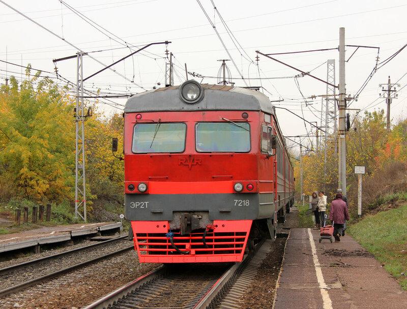 ЭР2Т-7218 у платформы 1629 км, перегон Черниковка - Уфа, рейс Кропачёво - Дёма