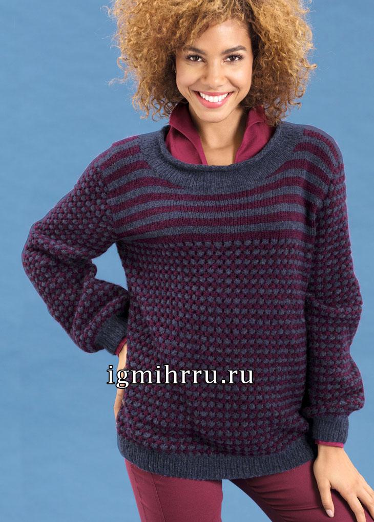 Теплый пуловер в полоску с узором из протяжек. Вязание спицами
