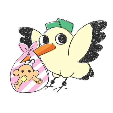 5 мая-день акушерки. Птичка с малышом в завязанном платочке