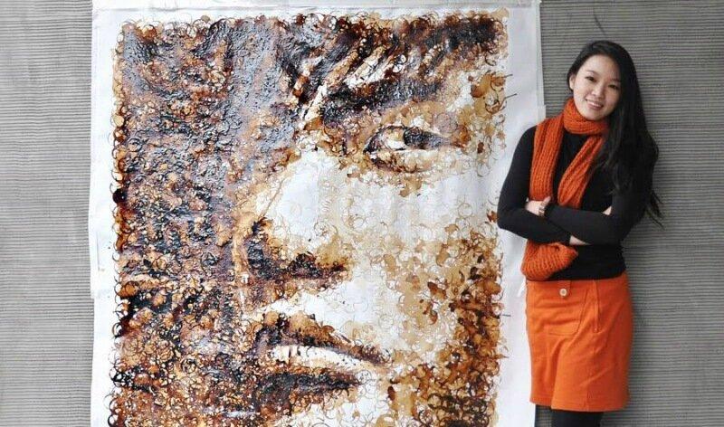 Юбилейный портрет Джеки Чана из палочек для еды