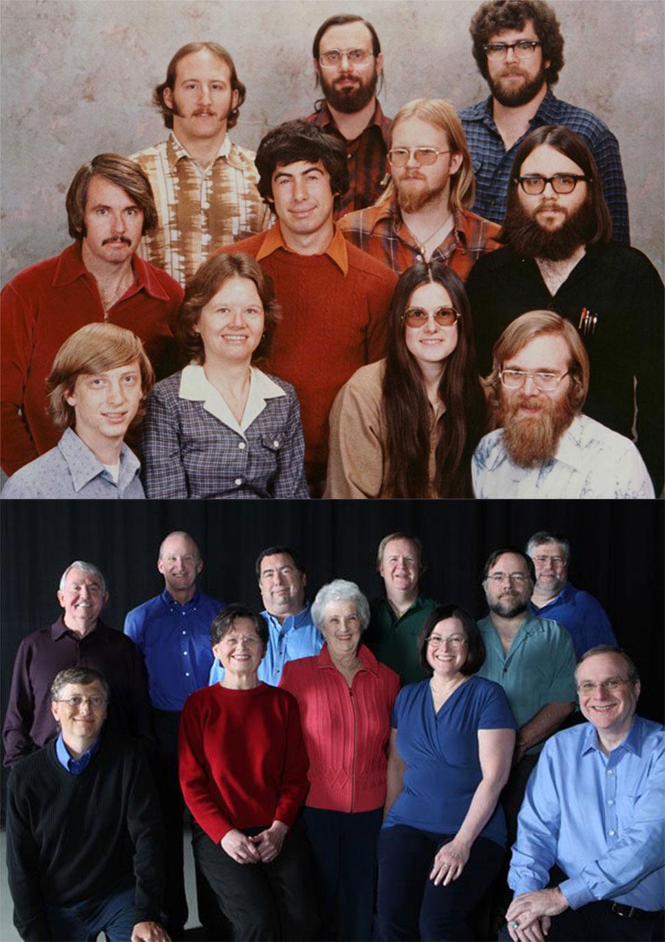 Вверху — тот самый снимок 1978 года, а внизу — он же, воссозданный в 2008 году, когда Билл Гейтс пок