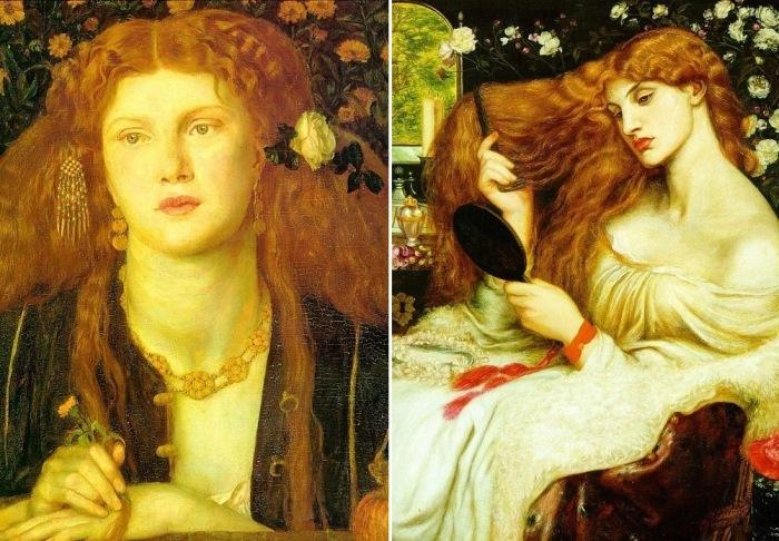 Данте Габриэль Россетти. Слева – Bocca Baciata, 1859. Справа – Леди Лилит, 1868. Натурщица – Фан