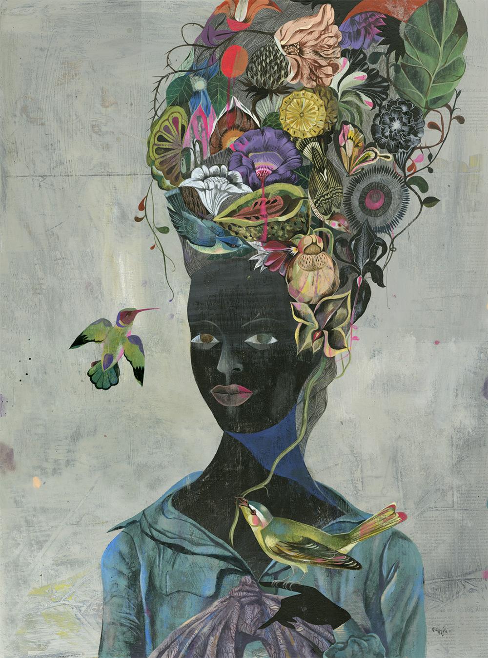 Портреты с прическами наполненные жизнью от Olaf Hajek