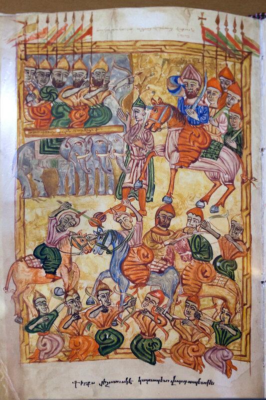 Аварайрская битва. Миниатюра XVI века.