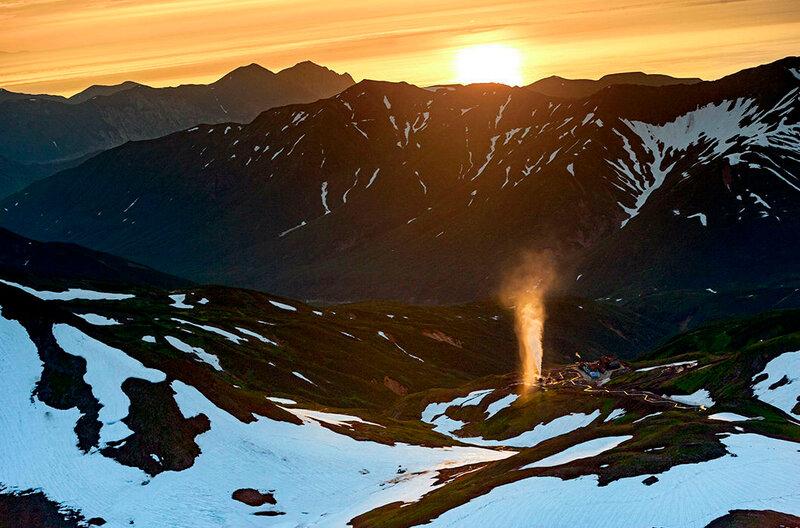 Мутновская геотермальная электростанция. Полуостров Камчатский