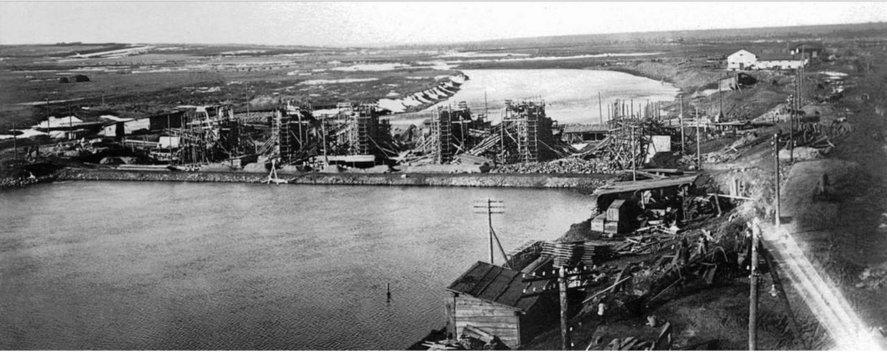 1928. Челябинск. ЧГРЭС. Плотина