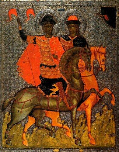 СВЯТЫЕ БЛАГОВЕРНЫЕ КНЯЗЬЯ БОРИС И ГЛЕБ. Икона. Новгород, около 1377 года.
