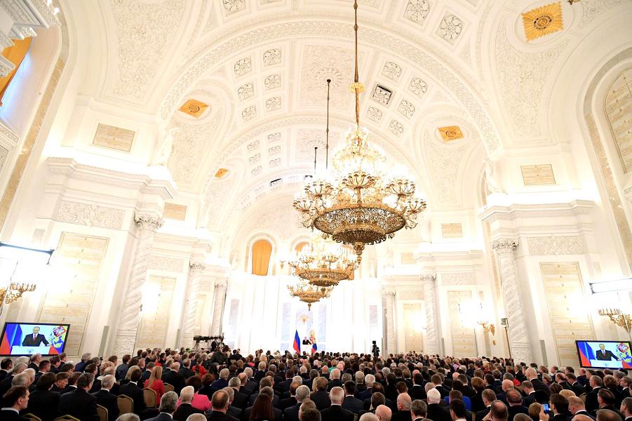 Послание ФС 2016, Георгиевский зал Кремля, 1.12.16.png