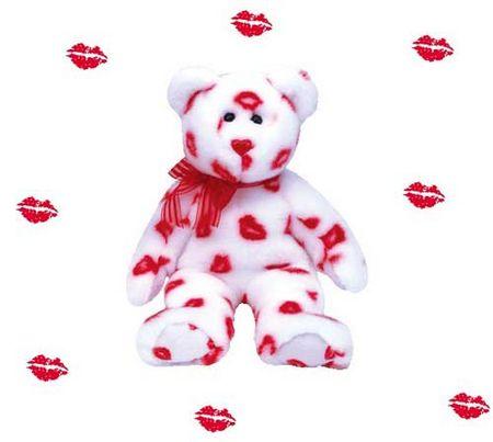 Открытка. С днем поцелуя! Зацелованный белый медвежонок