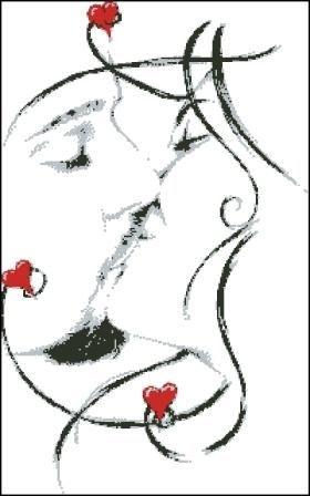 Открытка. С днем поцелуя! Поцелуй. Рисунок