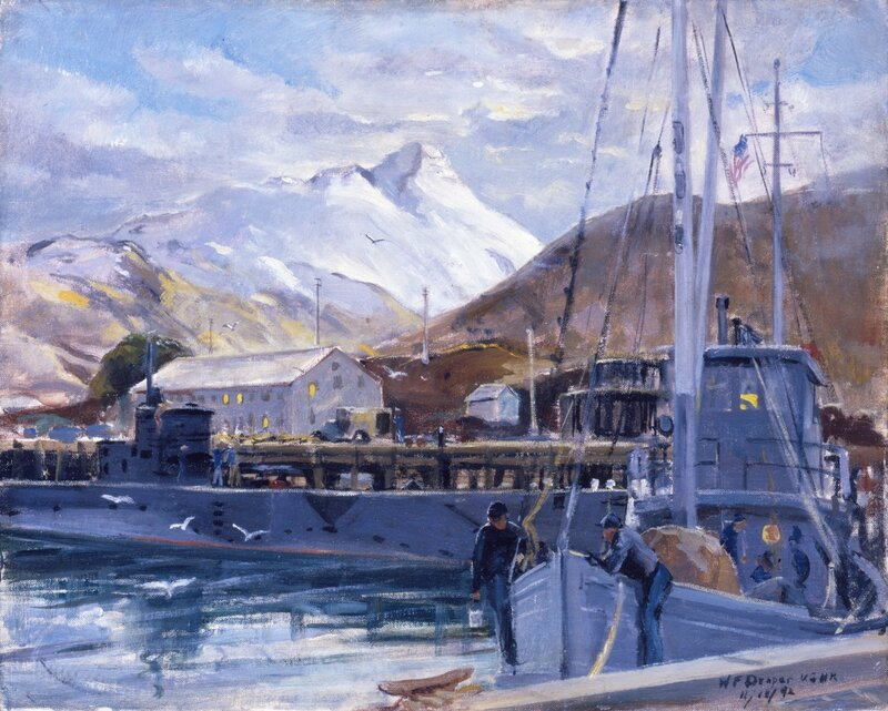 William F. Draper - Sub and Yippy Tie Up (1942) In a quiet inlet of the Bering Sea, a YP Boat gets a coat of paint and a sub ties up for fuel and provisions.