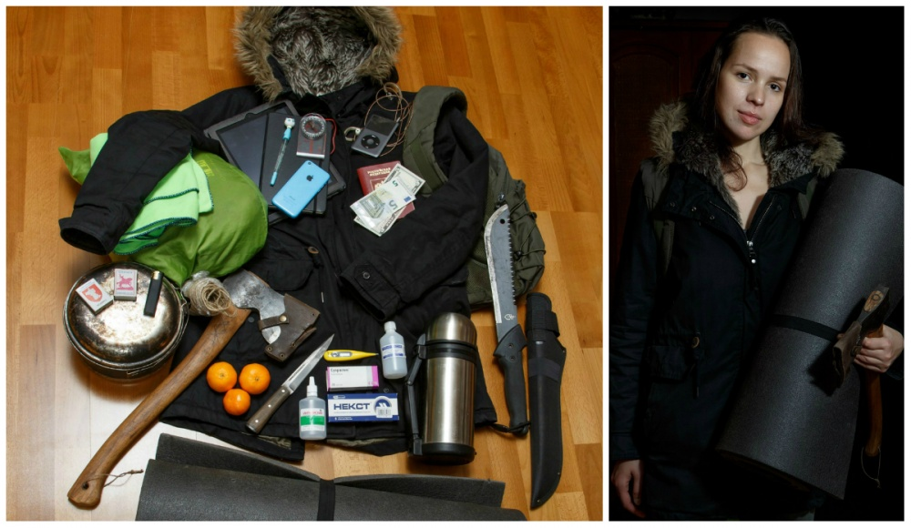 © Ekaterina Sahakyan  Спальный мешок, полотенце, планшет, записная книжка, ручка, телефон, ком