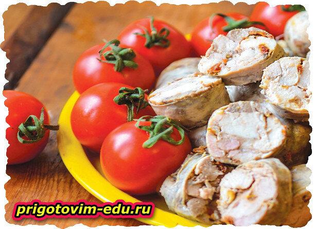 Куриная колбаса с картофелем