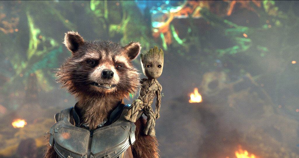 Guardians Of The Galaxy Vol. 2L to R: Rocket (Voiced by Bradley Cooper) and Groot (Voiced by Vin Diesel)Ph: Film Frame©Marvel Studios 2017