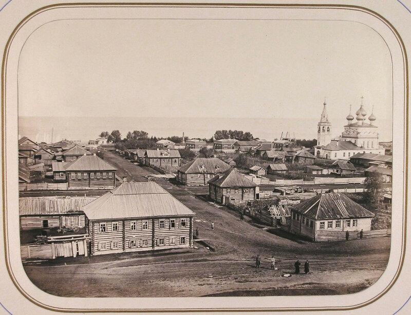 1865 Вид с вала древнего укрепления на город; на втором плане - строения ведомства путей сообщения и Белое озеро. Белозерск.jpg