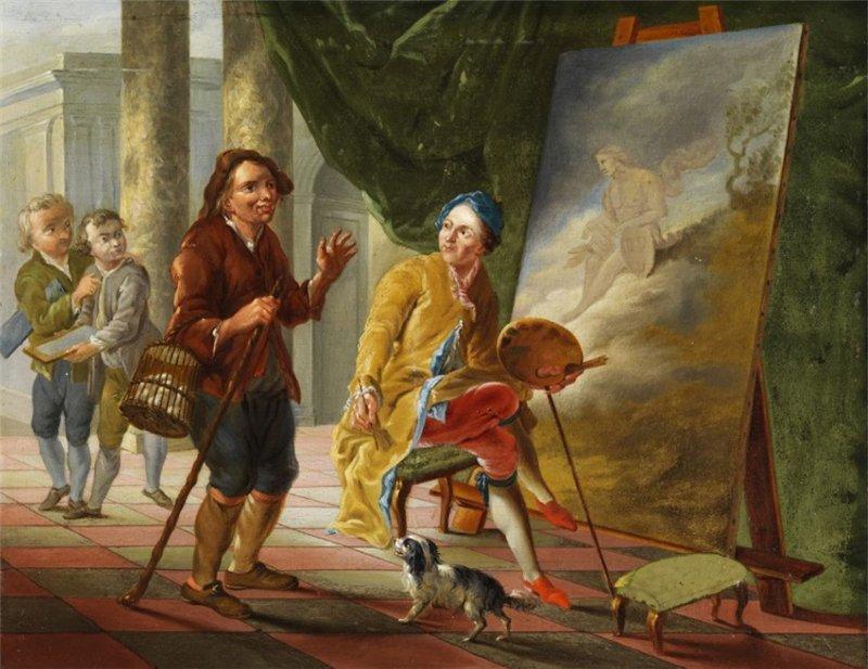 Anonymous Фермер посетил художника Апеллеса и восхищается его искусства. 18-го века.png