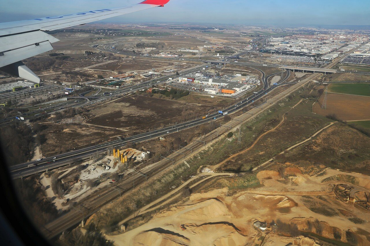 The surroundings of Barajas airport, view from plane