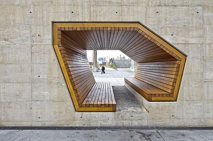 Скамейка от архитекторов Alleswirdgut Architektur, Люксембург.