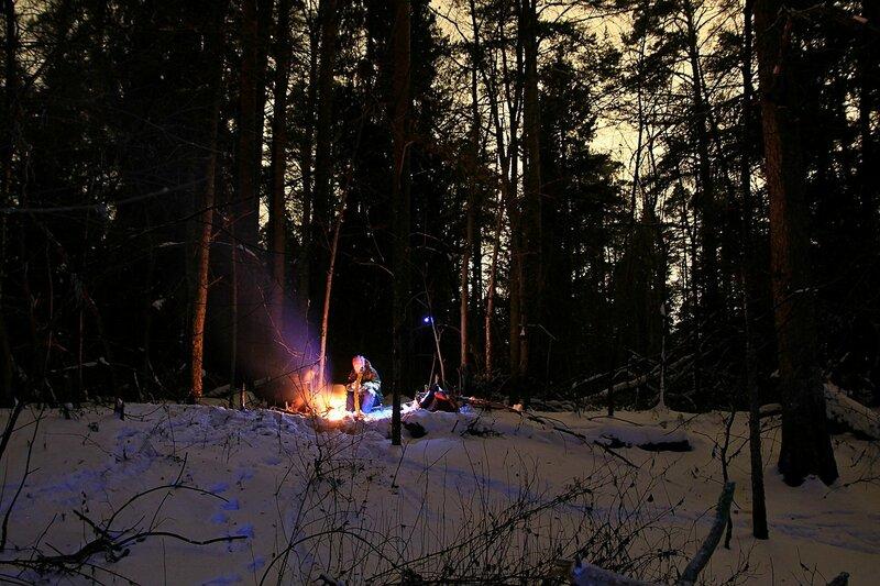 Костёр на полянке в ночном зимнем сосновом лесу