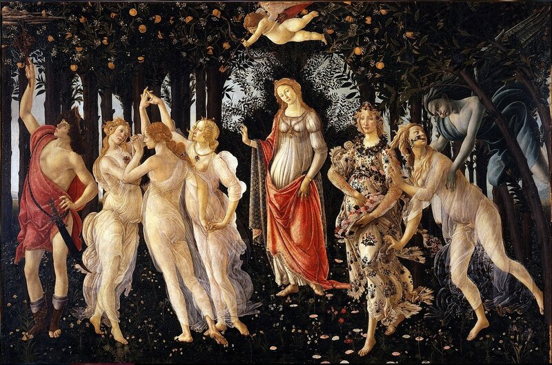 Сандро Боттичелли.Весна. 1482 год. Primavera. Доска, темпера. (203 на 314 см)Галерея Уффици, Флоренция..jpg