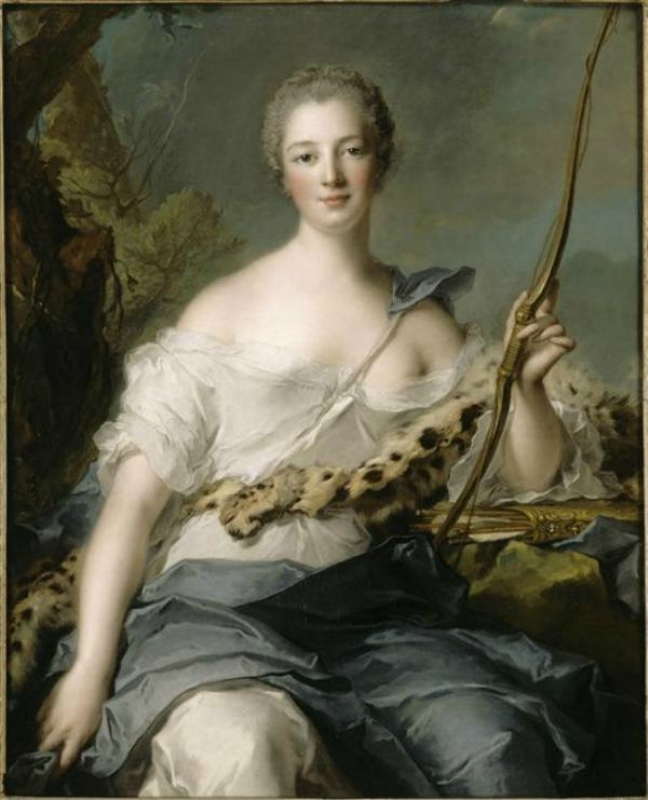 1746 Jean-Marc Nattier (French painter, 1685-1766) Jeanne-Antoinette Poisson, Marquise de Pompadour (1722-1764) as Diana the Huntress.jpg