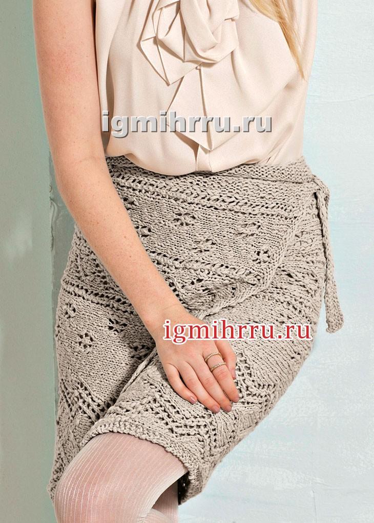 Связанная поперек юбка с запáхом. Вязание спицами