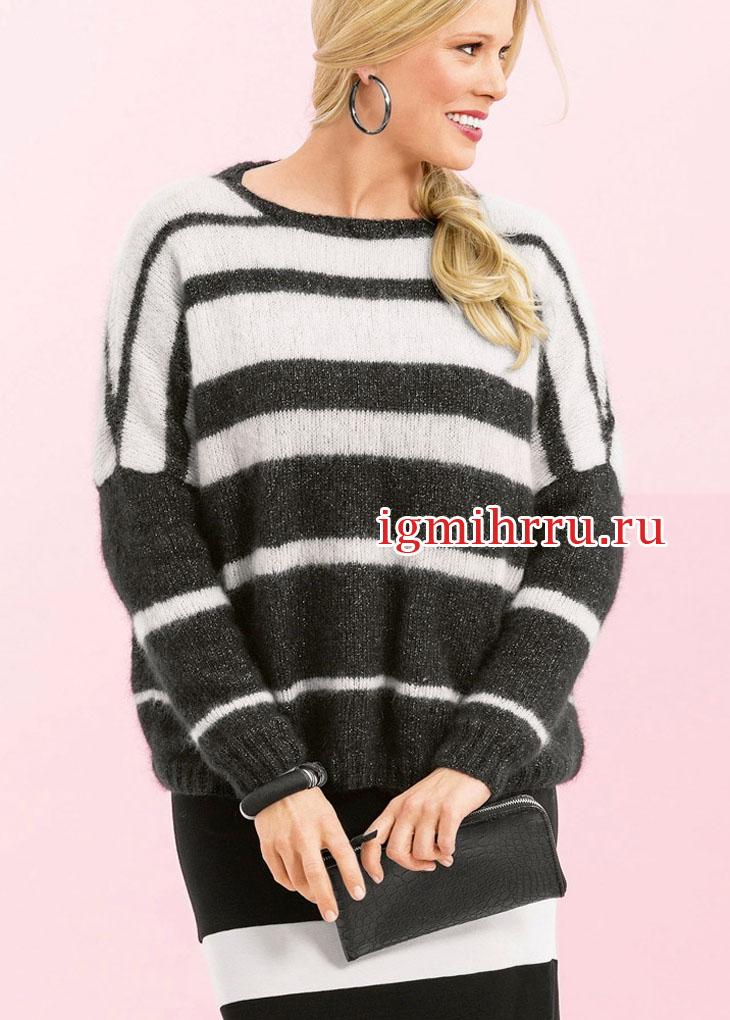 Большие размеры. Черно-белый пуловер с полосками разной ширины. Вязание спицами
