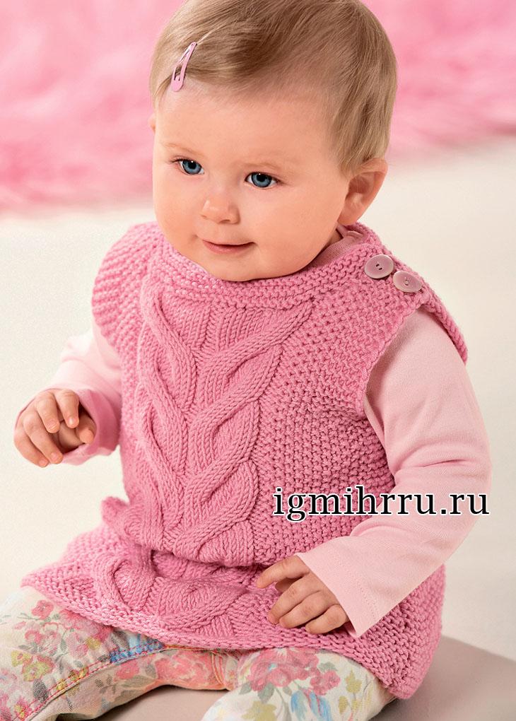 Теплый розовый жилет с косой для малышки в возрасте до 1,5 лет. Вязание спицами