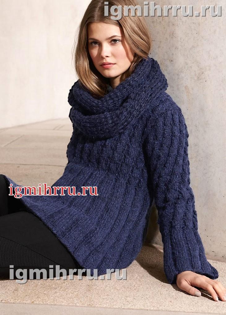 Темно-синий пуловер с высокими планками и снуд. Вязание спицами