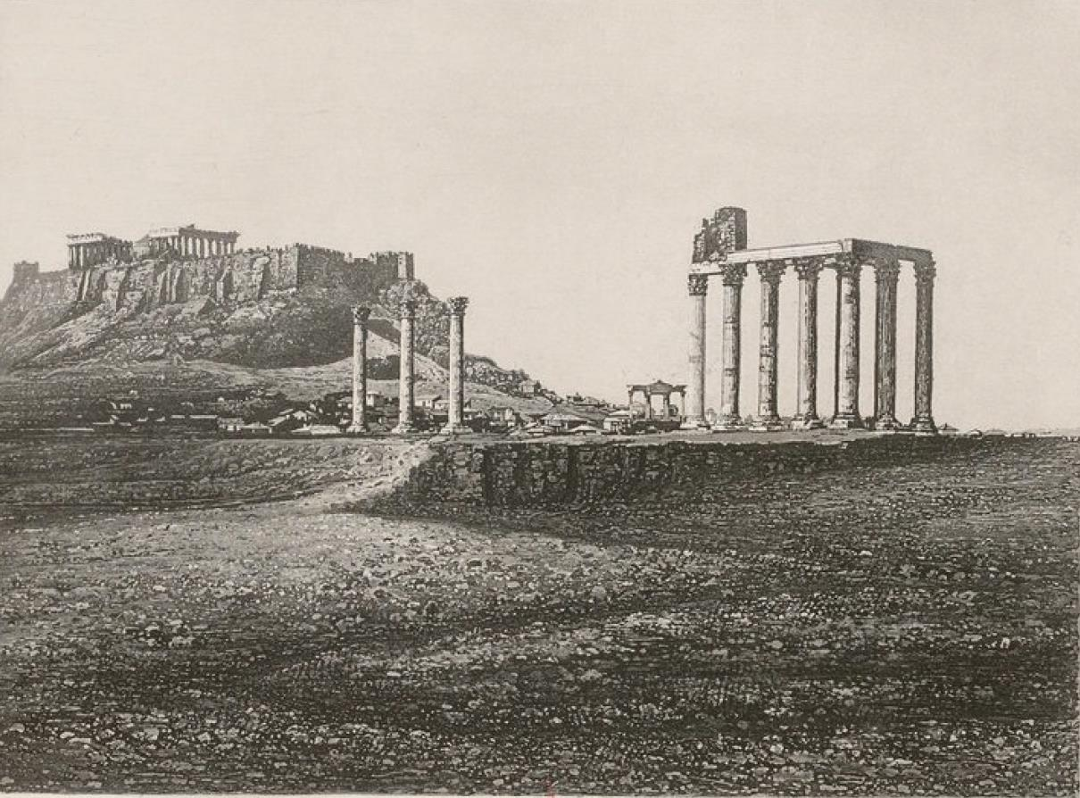 Греция. Афины. Акрополь и Храм Зевса Олимпийского