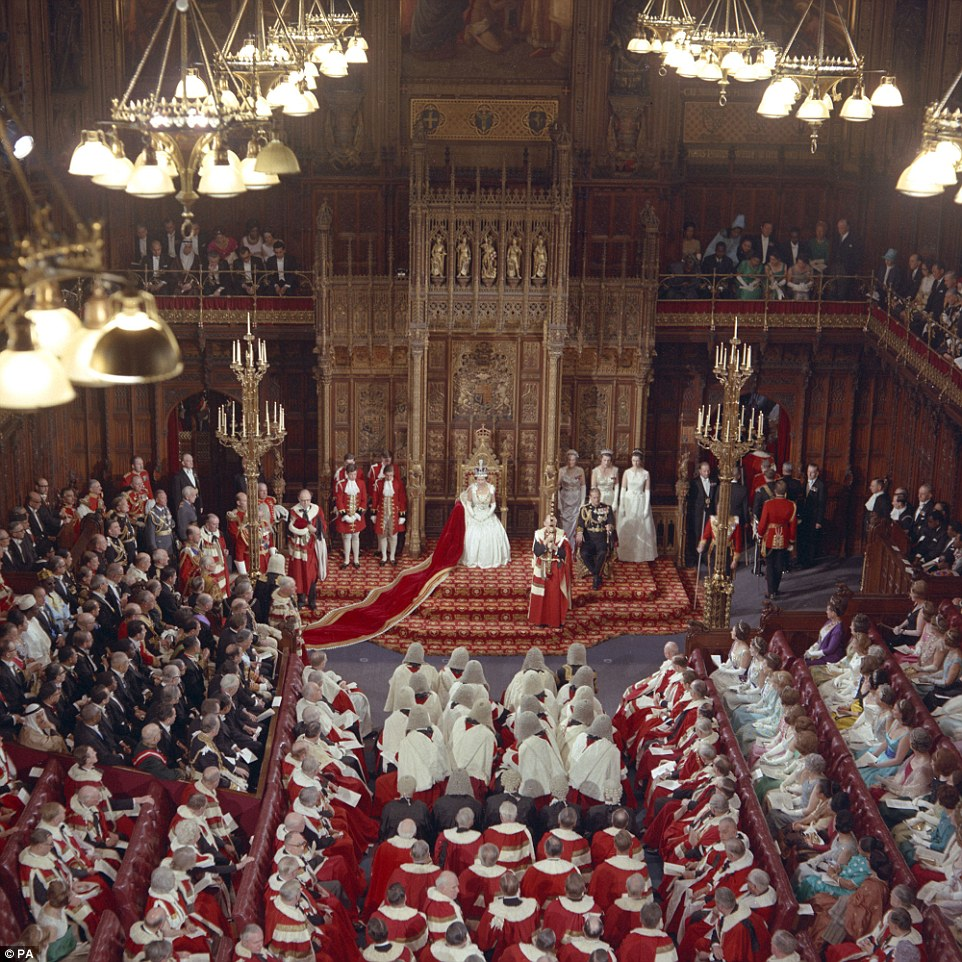 Birthday celebrations The Queen in the House of Lords during the opening of Parliament on April 21, 1966 - her 40th birthday.jpg