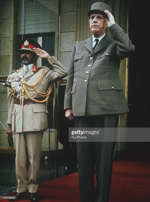 Emperor Haile Selassie of Ethiopia (1892 - 1975) with French President Charles De Gaule (1890 - 1970) in Addis Ababa in August 1966..jpg