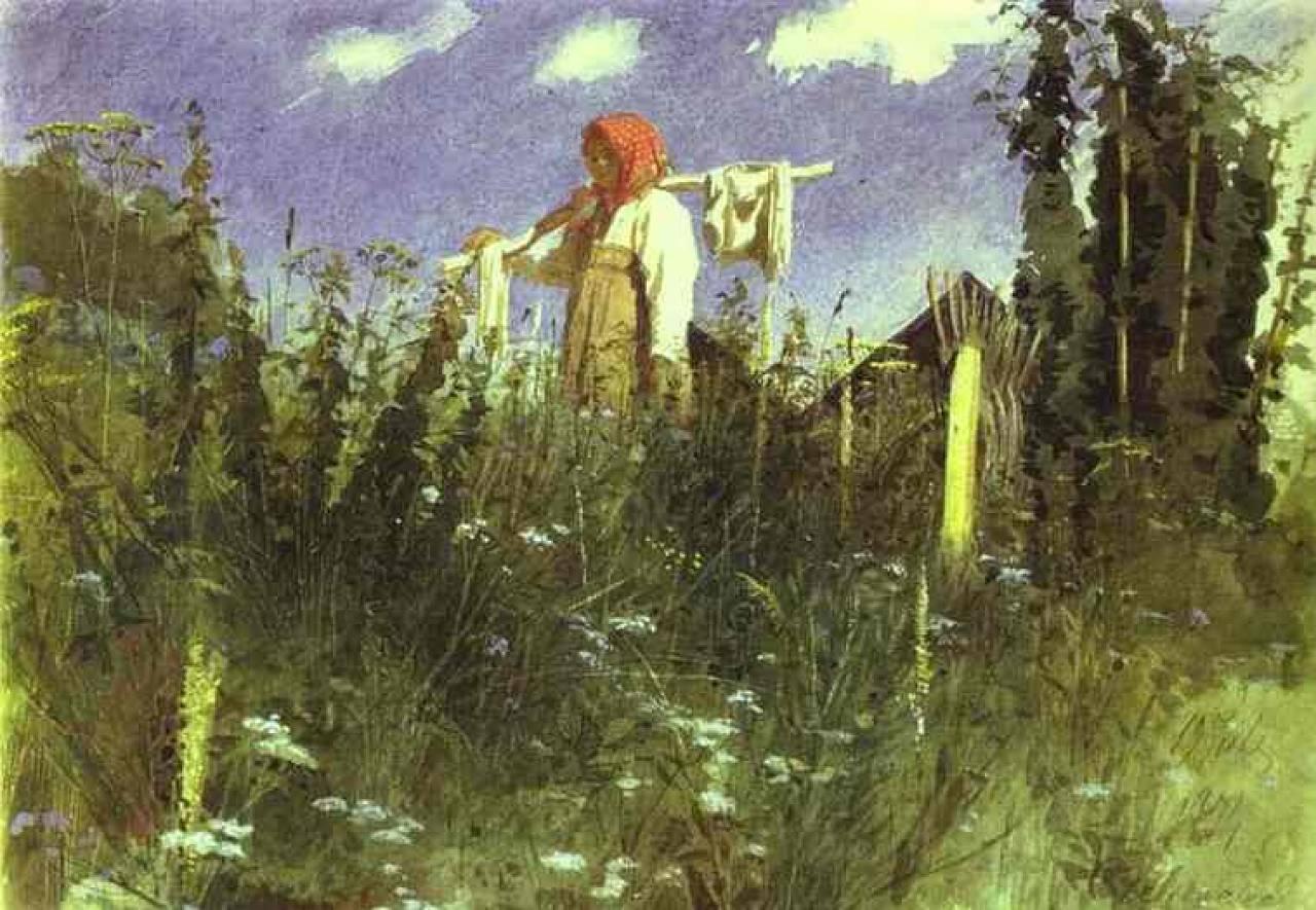 Девочка с бельем на коромысле среди травы.jpeg