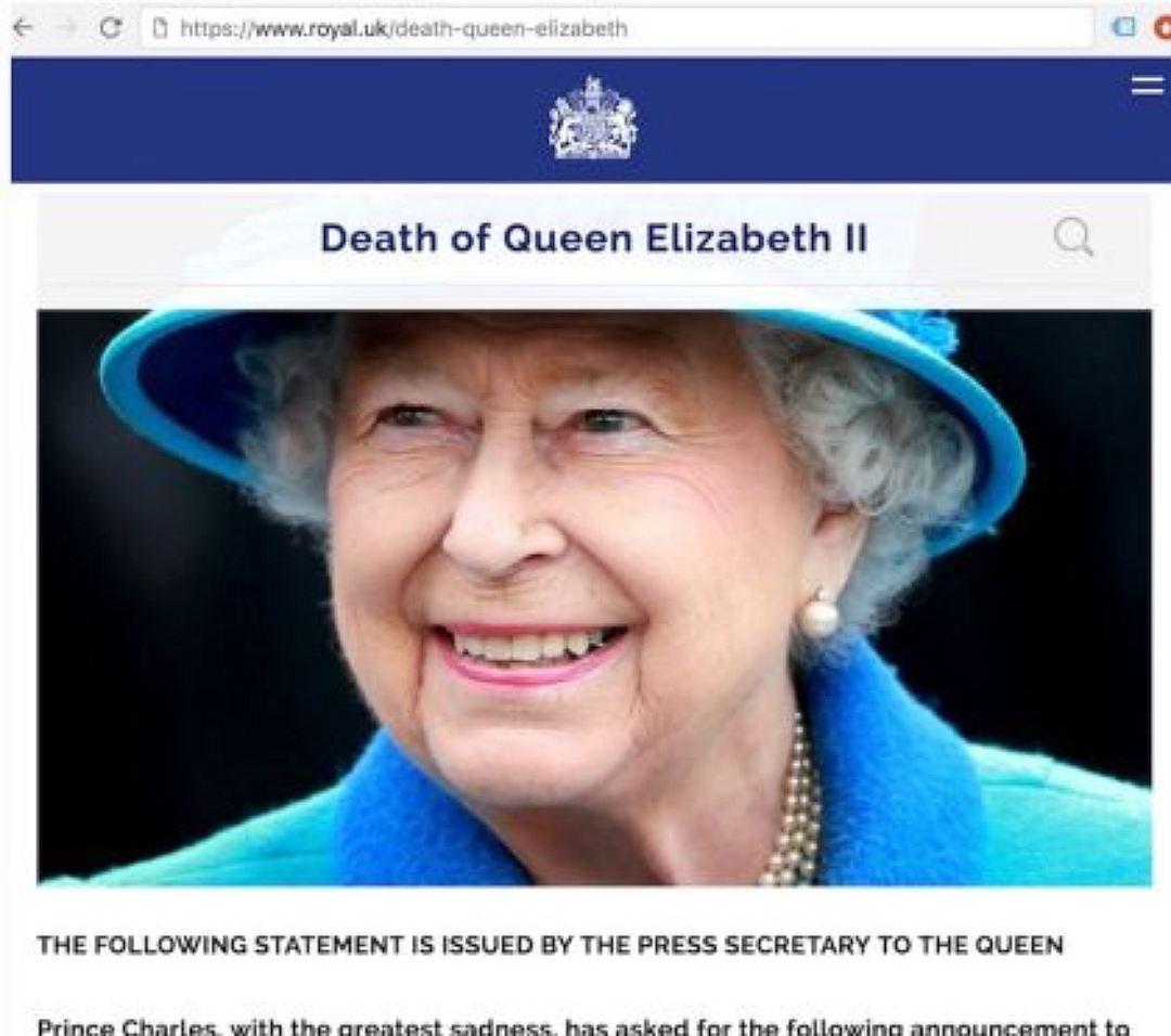 Сайт английской  королевской семьи спешно «реанимировал» ЕлизаветуII