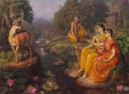 Сита-Рама-Лакшмана в изгнании, и демон Маричи в облике золотого оленя