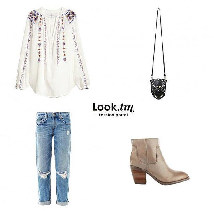 2. Блуза H&M, бойфренд джинсы Rag & Bone, ботинки Seychelles, кросс-боди Free People