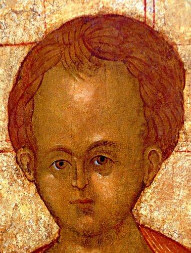 """Лик Младенца Христа. Фрагмент иконы Дионисия """"Богоматерь Одигитрия"""". Начало XVI века."""