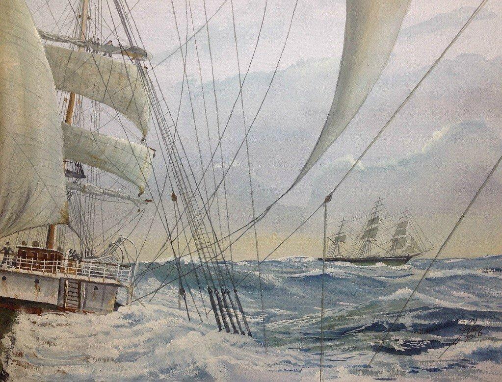 Reducing sail, taking in the Mizzen Top Gallant Sail.