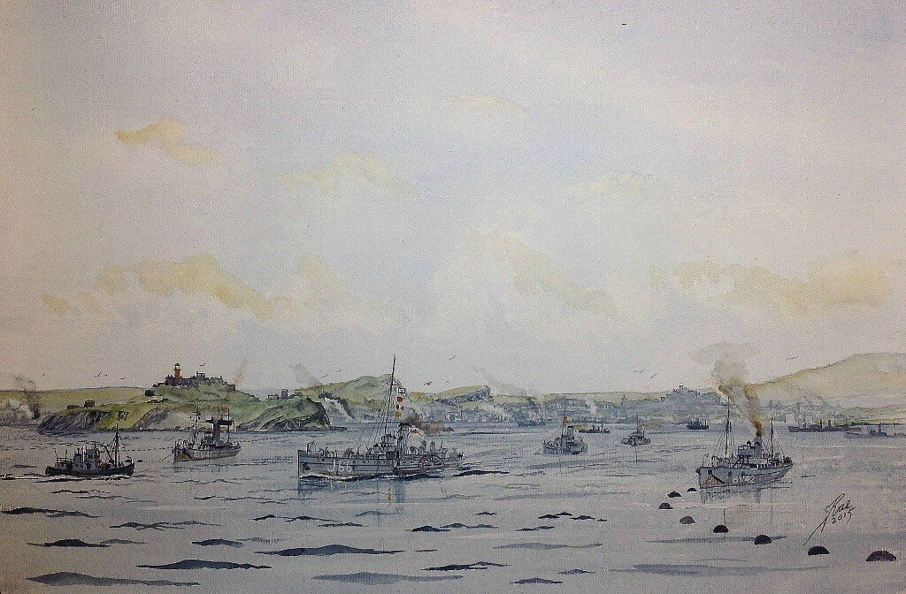Paddle minesweepers pass through the gate in the boom net off Inchkeith, with Edinburgh in the back ground during WW2.