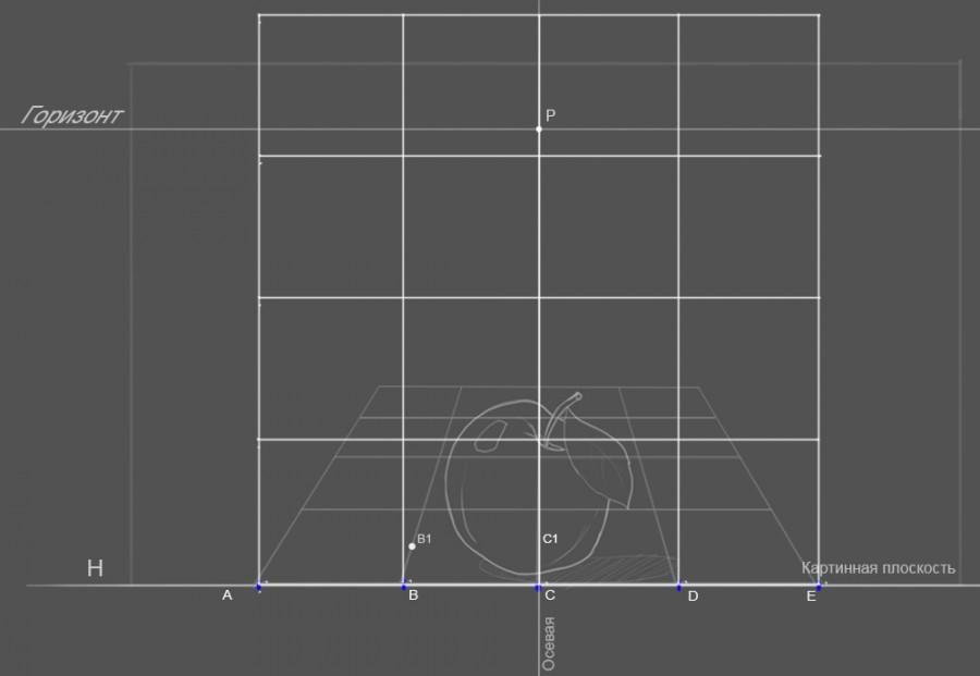 22. Теперь нам нужно начертить сетку без искажений, это наш проекционный эскиз, с которым мы и будем