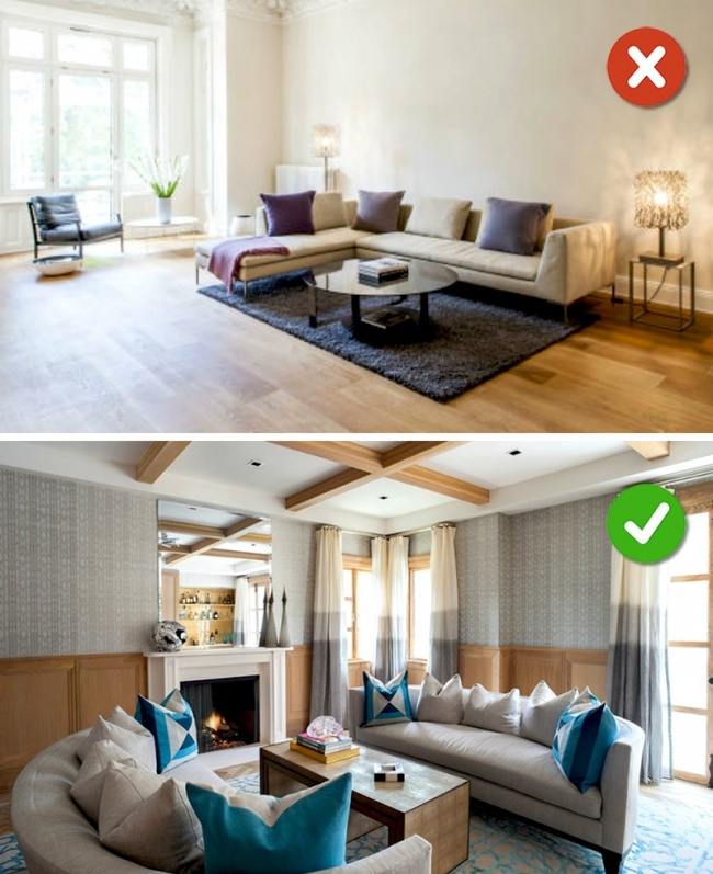 © housebeautiful  Это правило работает для больших комнат. Если увас есть возможность постави