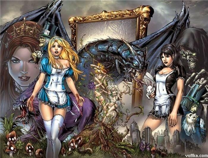 Картинки страшной версии сказки «Алиса в Стране Чудес» и «В Зазеркалье»!