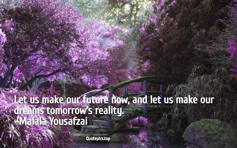 Let us make our future now, and let us make our dreams tomorrow's reality. ~Malala Yousafzai