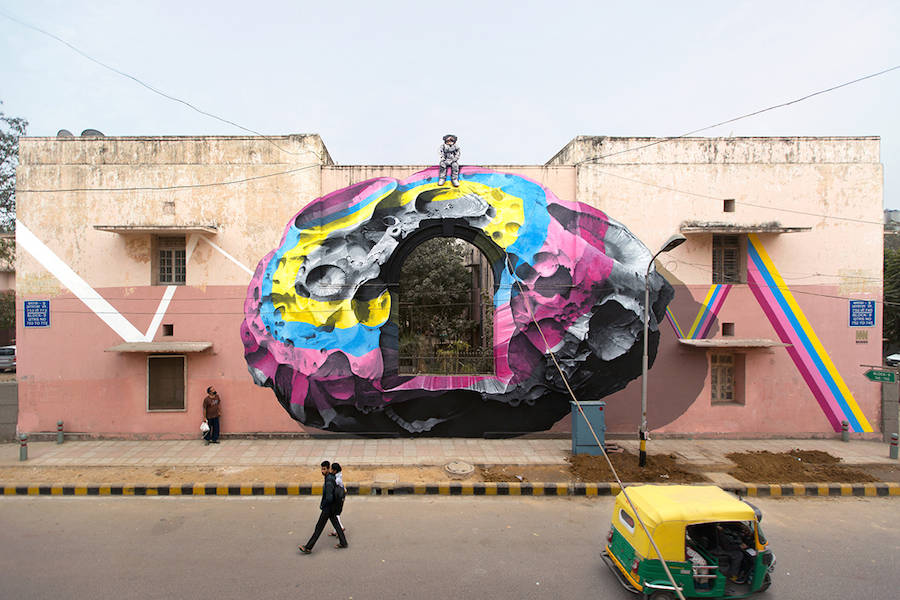 Cosmic Astronauts Street Art in New Delhi