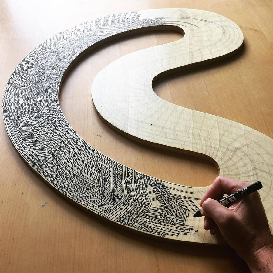 Infinite Skyscrapers Illustrated on Circle Pieces of Wood