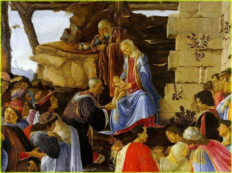 Поклонение волхвов. Алтарь Заноби. Боттичелли.Botticelli Adoration of the Magi.(Фрагмент картины).jpg